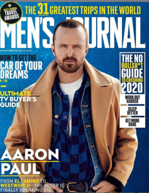Aaron Paul on the cover of Mens Journal.