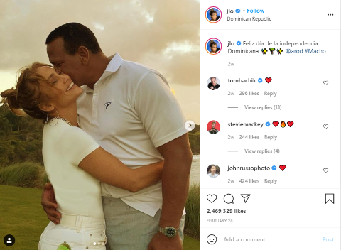 J.Lo recently shared a picture of her fiancé in Instagram.