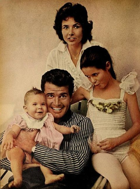 Clarke is with her daughter Kim, Gigi, and her husband James Garner.