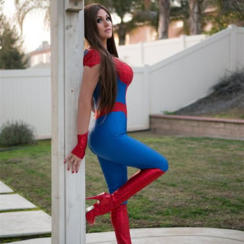 Angie Griffin doing Spiderman cosplay.