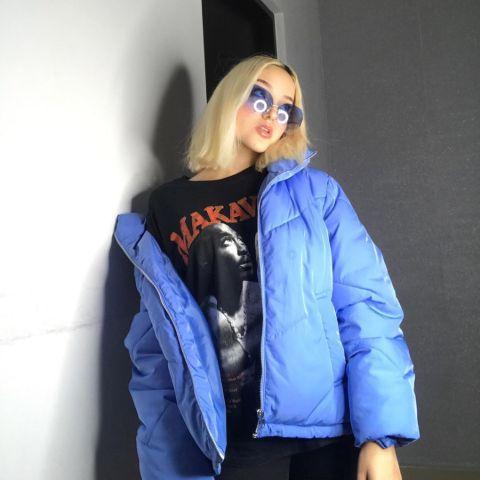 Mariana Ayala in her blue Jacket.