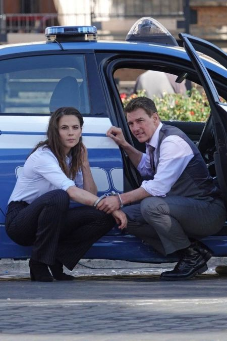 Hayley Atwell and Tom Cruise are shooting for Mission Impossible.