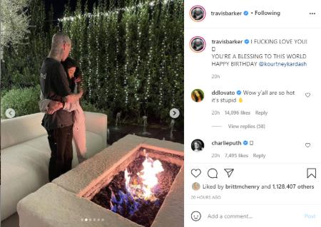 Travis Barker gave a thumb suck to girlfriend Kourtney Kardashian
