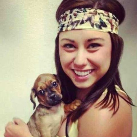 Alaina Marie Mathers with her puppy.
