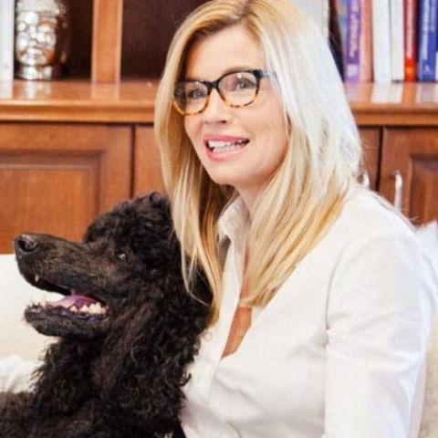 Nadine with her dog.